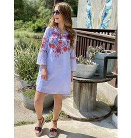 Light Blue Stripe Embroidered Dress