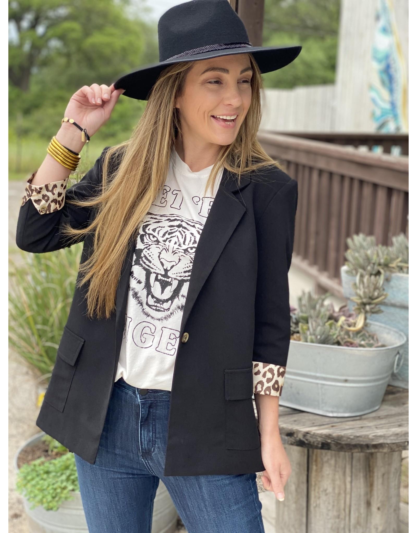 Black Blazer w/Leopard Cuff Detail