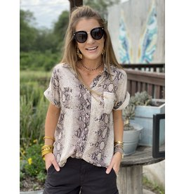 Short Sleeve Button Down in Brown Snake