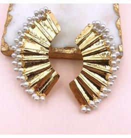 Treasure Jewels Abanico White/Gold Earrings