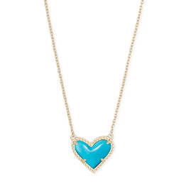 Kendra Scott Ari Heart Short Necklace Turquoise on Gold