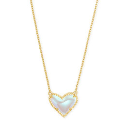 Kendra Scott Ari Heart Short Pendant Gold Dichroic Glass