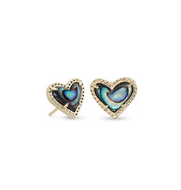 Kendra Scott Ari Heart Stud Earring Abalone on Gold