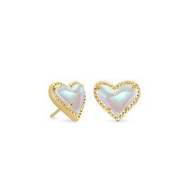 Kendra Scott Ari Heart Stud Earring Gold Dichroic Glass
