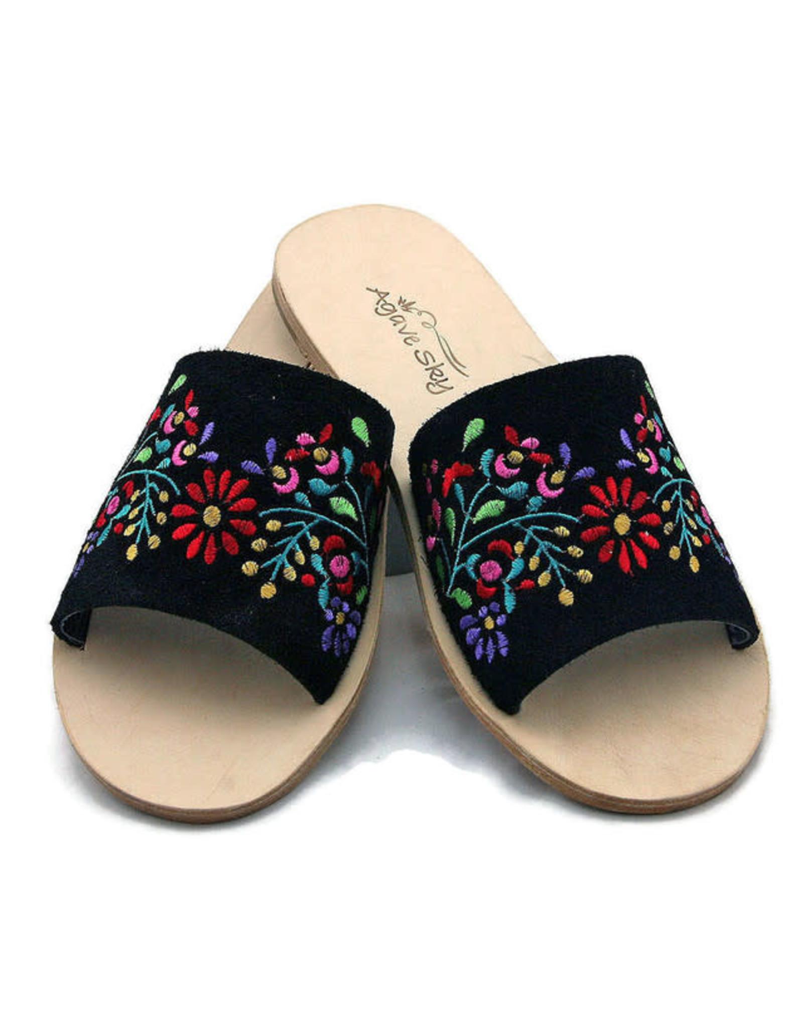 Agave Sky Nadia Embroidered Floral Slide