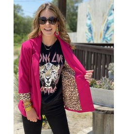 Hot Pink Blazer w/Leopard Cuff