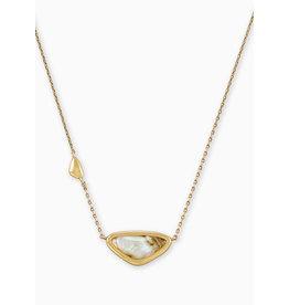 Kendra Scott Margot Short Pendant Necklace Vintage Gold White Abalone
