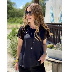 Black Top w/Lace Sleeve Detail
