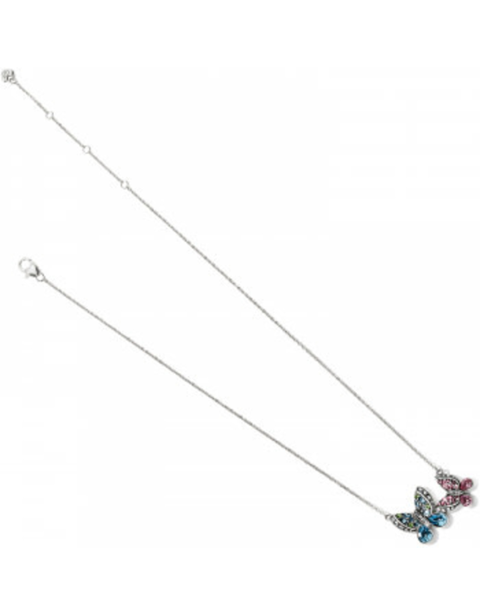 Brighton Trust Your Journey Love Butterflies Reversible Necklace Silver-Rose-Blue