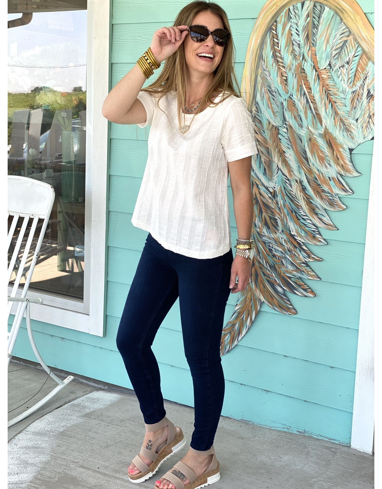 Textured White Short Sleeve Top