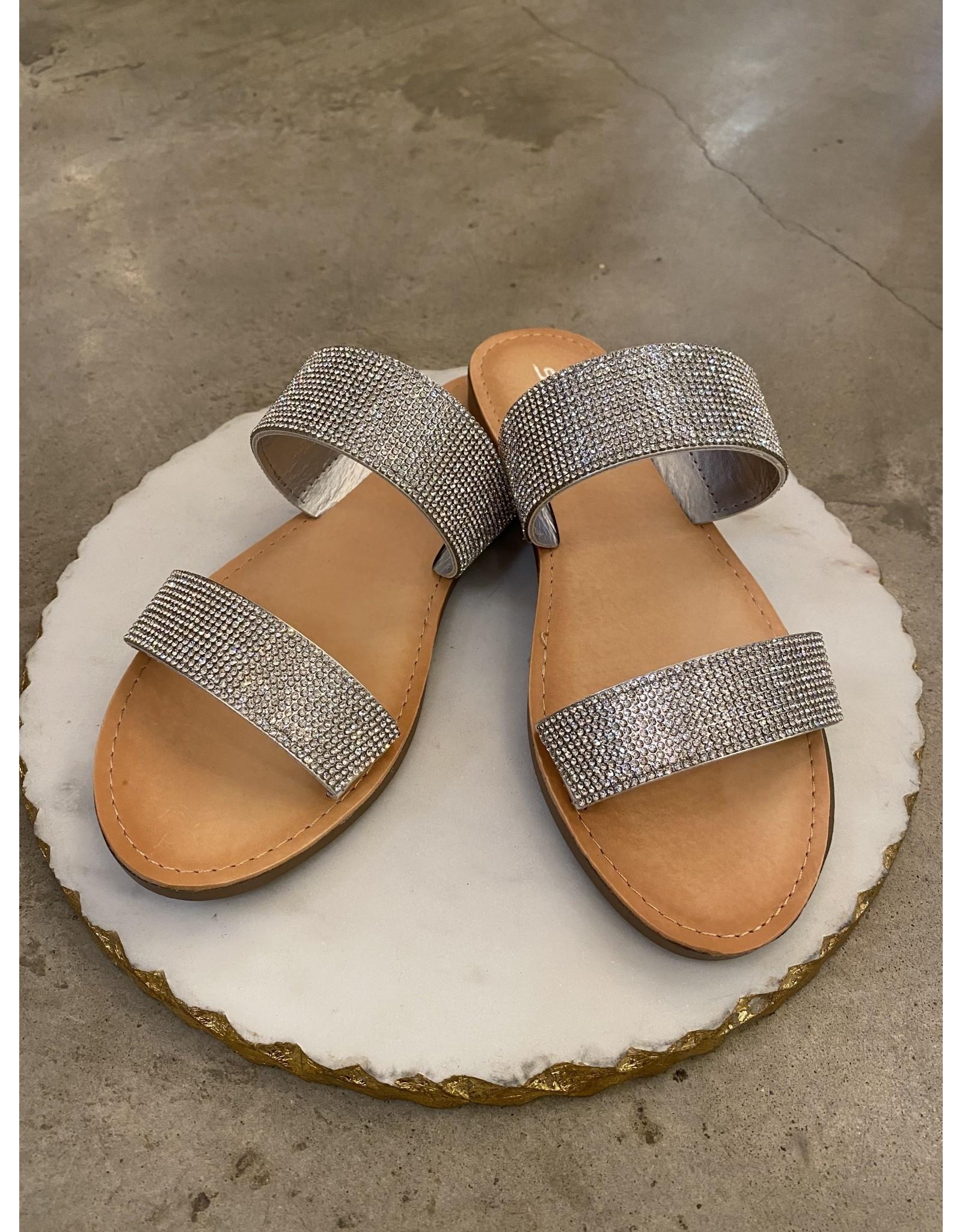 Among Sandal in Silver Rhinestones