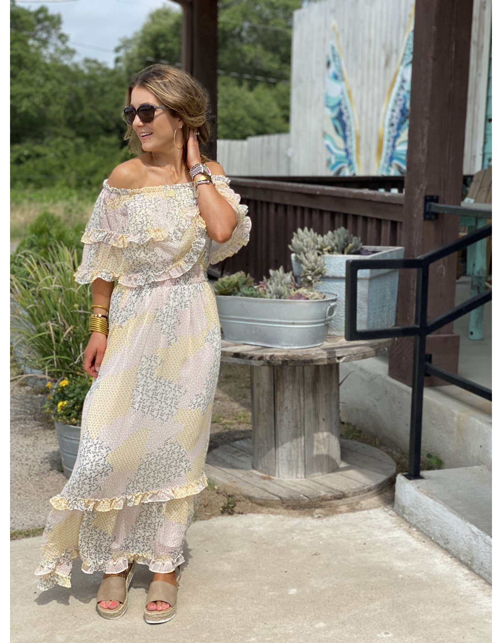 Dainty Print Chiffon Maxi Dress