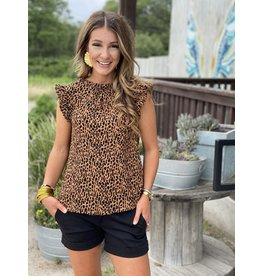 Leopard Pleated Top
