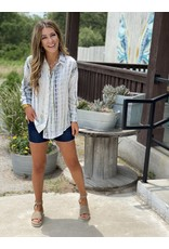Olive/Navy Tie-Dye Button Down Top