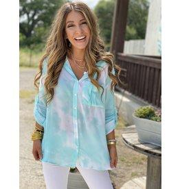 Aqua Tie Dye Hooded Shirt