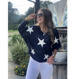 Navy Star Light Weight Sweater