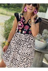 Leopard Dress w/ Floral Embroidery