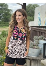 Leopard Top w/ Floral Embroidery