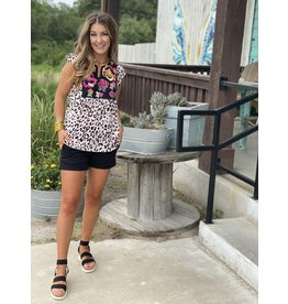 Leopard Plus + Top w/ Floral Embroidery
