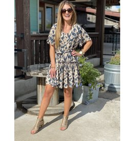 Leopard Print Flounce Dress w/Waist Sash