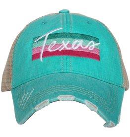 Texas Stripe Trucker Hat in Teal