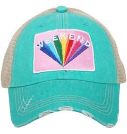 Weekend Patch Trucker Hat in Teal