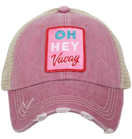 Oh Hey Vacay Patch Trucker Hat in Pink
