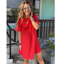 Red Ruffle Sleeve Pleated Dress