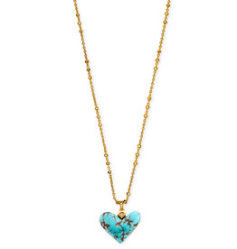 Kendra Scott Poppy Short Heart Necklace V. Gold Turquoise