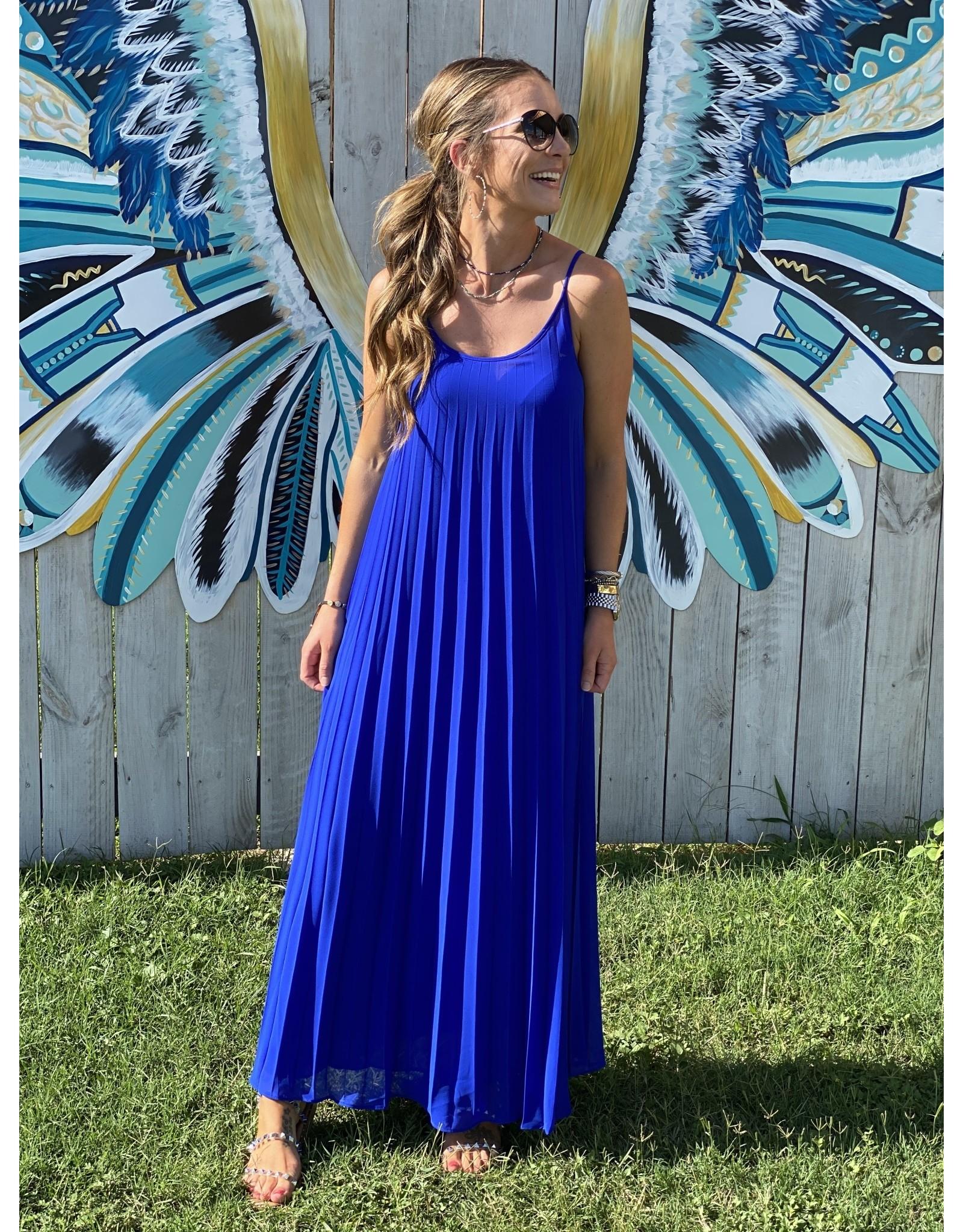 Royal Blue Pleated Maxi Dress