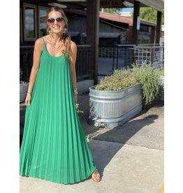 Kelly Green Pleated Maxi Dress