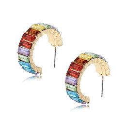 MultiColored Glass Hoop Earrings