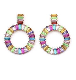 MultiColored Crystal Circle Earring