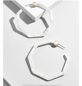 Ivory Acrylic Large Hoop Earring