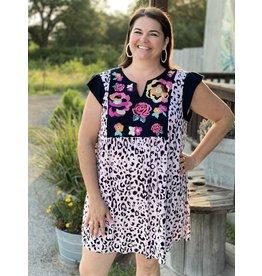 Leopard Plus + Dress w/ Floral Embroidery