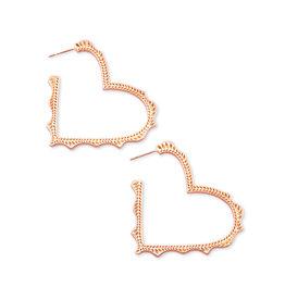 Kendra Scott Sophee Heart Hoop in Rose Gold