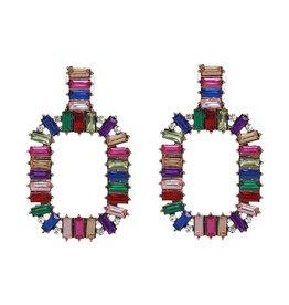 MultiColored Stone Rectangle Earrings
