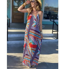 Multi Stripe Pattern Pleated Dress