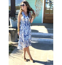 Blue Watercolor Ruffle Hem Dress