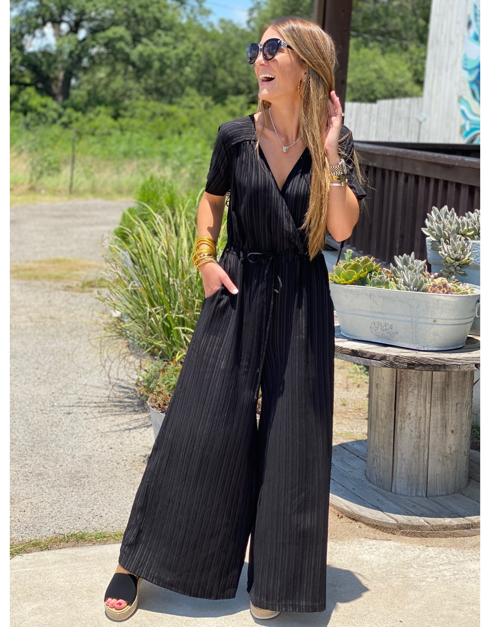 Black Textured Stripe Jumpsuit
