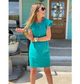 Flutter Sleeve Dress in Emerald