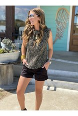 Olive Leopard Pleated Top