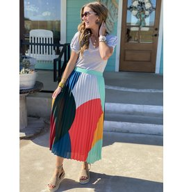 Geometric Print Pleated Skirt