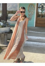 Maxi Dress in Salmon Leopard Contrast