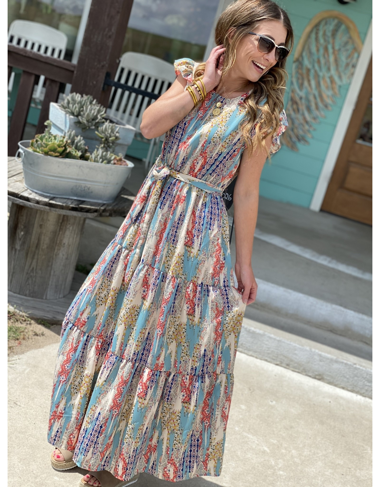 Blue Multi Print Maxi Dress