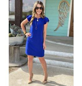 Flutter Sleeve Dress in Royal Blue