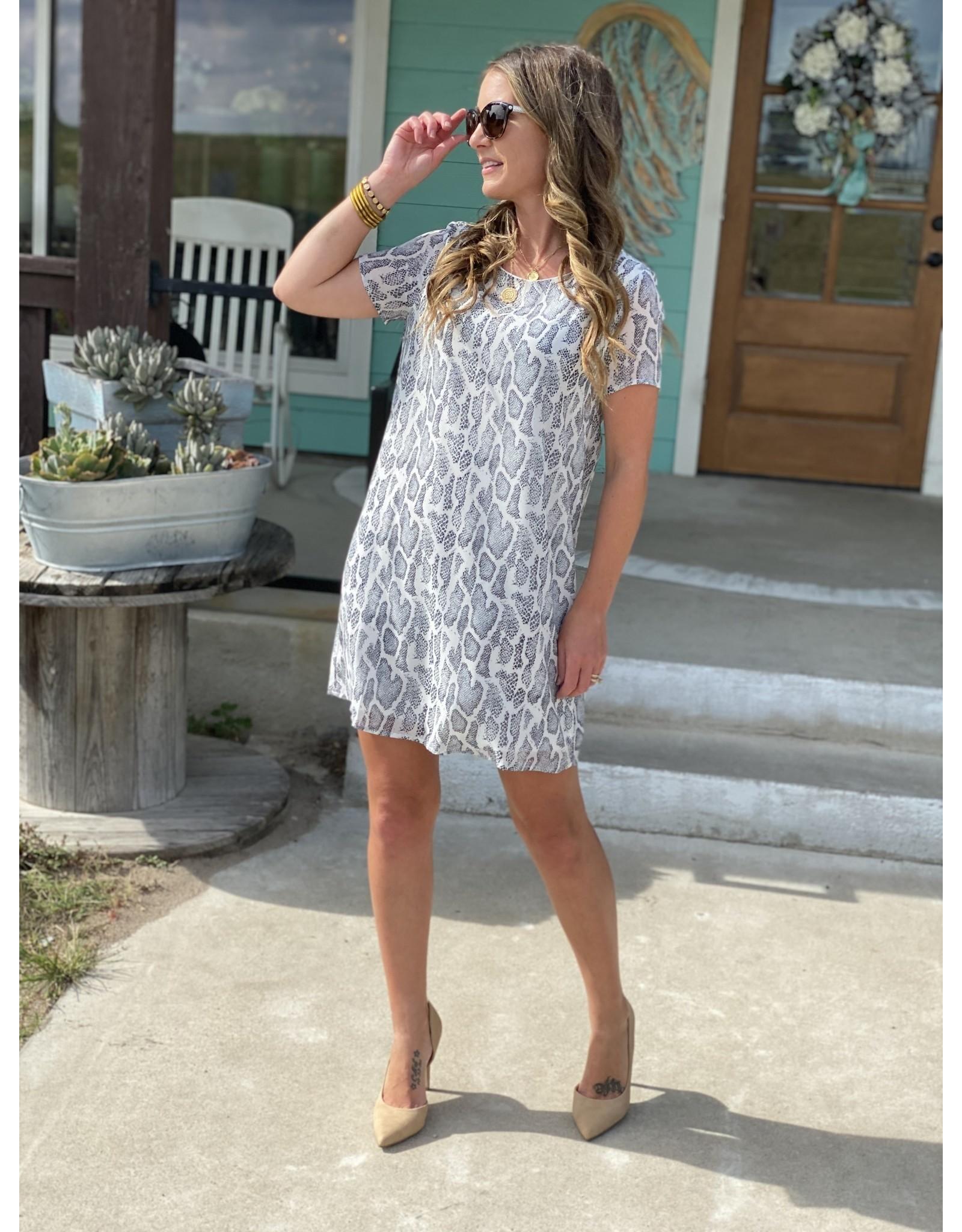 Grey Snake Print Dress w/Lining