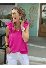 Hot Pink Ruffle Detail Tank