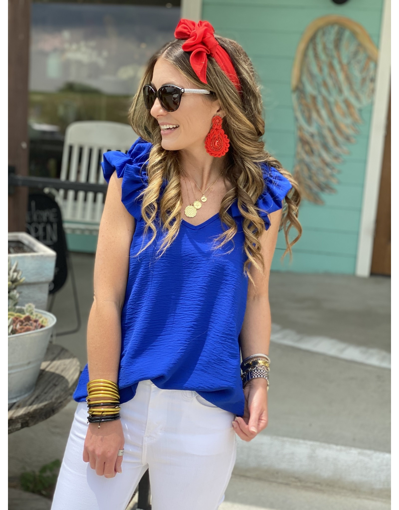 Royal Blue Ruffle Detail Tank