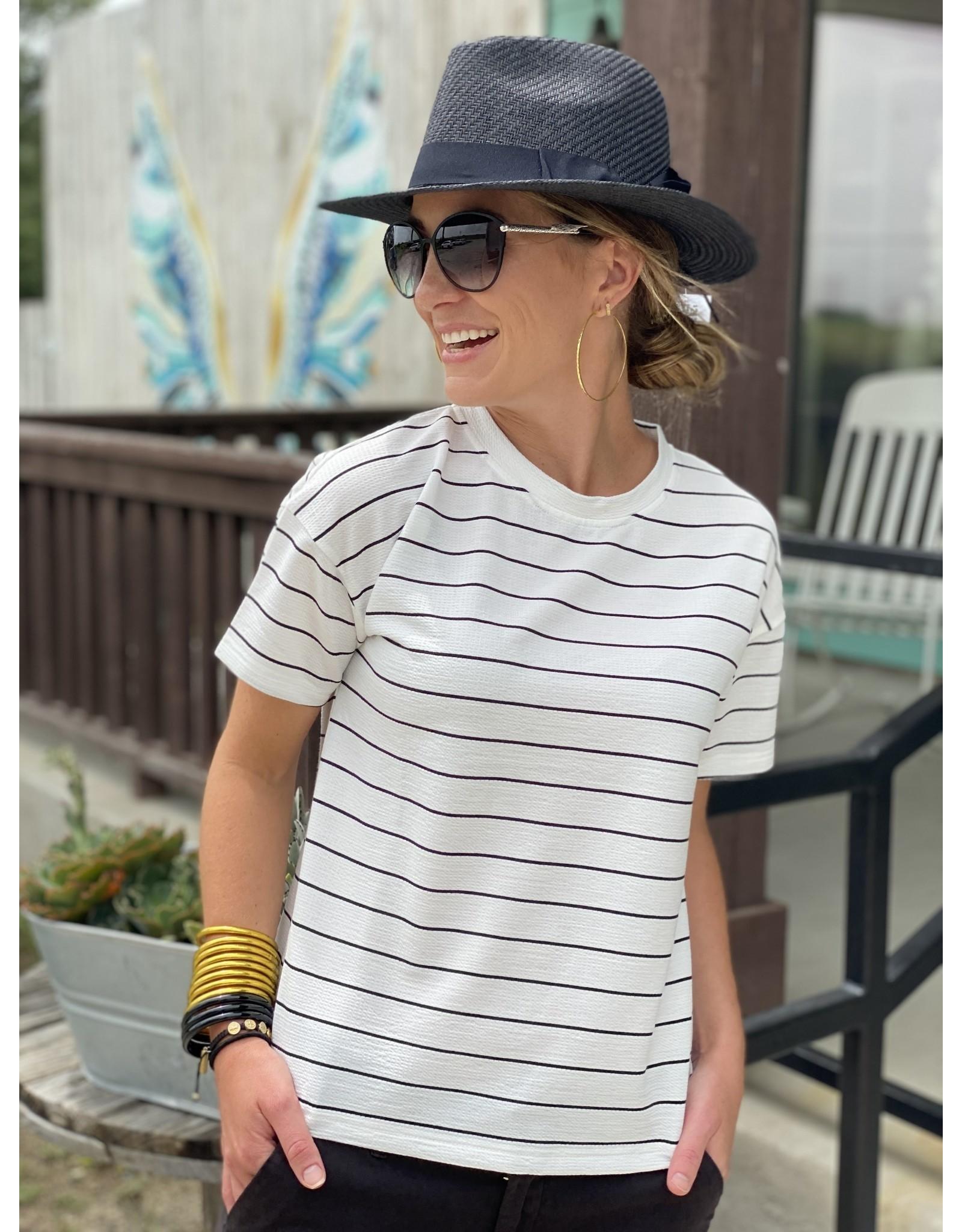 Ivory & Black Stripe Top